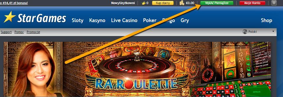 wpłac pieniadze do kasyna