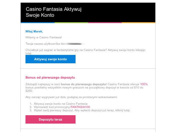 Sprawdź email i aktywuj konto w Casino Fantasia