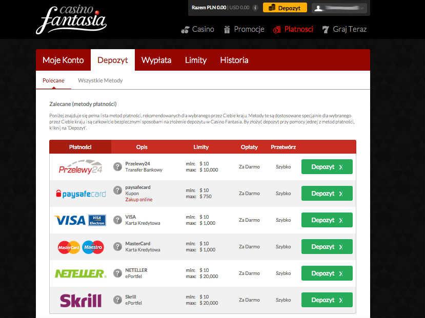 Metody płatności w Casino Fantasia - krok 6