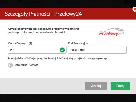 Przelewy24 - polecana forma dokonywania płatności w Casino Fantasia